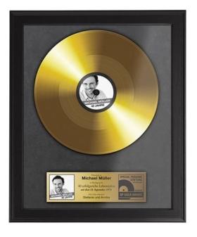 Goldene Schallplatte mit Foto, Namen & Datum