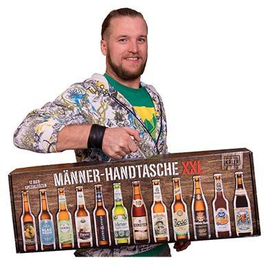 Männerhandtasche XXL mit 12 Bier-Sorten