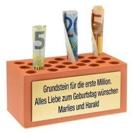 Geldgeschenk Grundstein mit Gravur