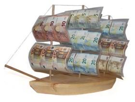 Geldgeschenk Holzschiff