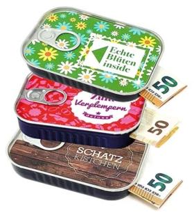 Geldgeschenke Verpackung Sardinendosen