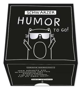 Geschenkbox Schwarzer Humor auf Kärtchen