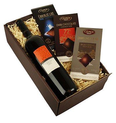 Geschenkbox Rotwein mit Schokolade