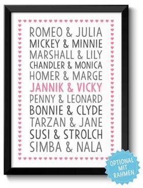 Geschenke für Paare Kunstdruck mit Namen