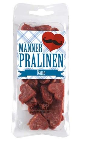 Männerpralinen Salami in Herzform