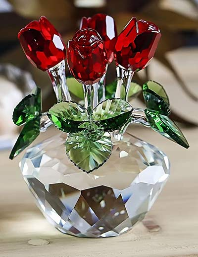 Rosenstrauß aus Kristallglas