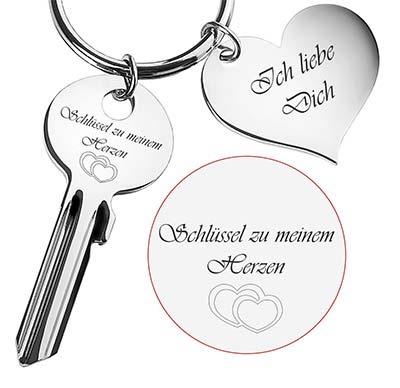 Schlüsselanhäger Herz mit Gravur