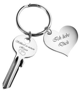 Herz-Schlüsselanhänger mit Gravur