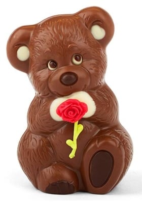 Schokoladen-Bär mit Rose