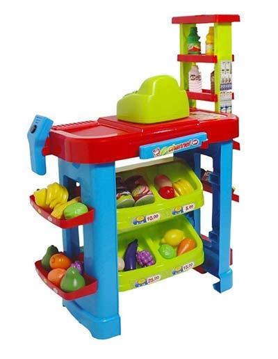 Supermarktstand mit Lebensmitteln