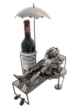 Weinflaschenhalter Rentner Metallmännchen