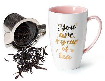 Wichtelgeschenke Tasse mit Teesieb und Deckel