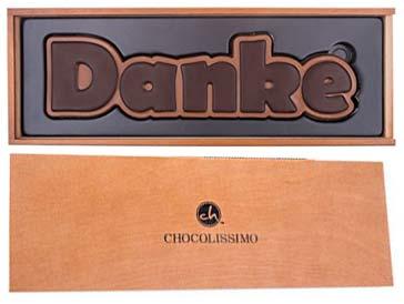 Wort Danke aus Schokolade